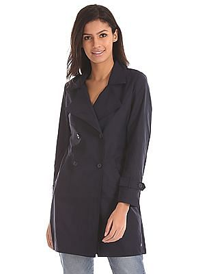 U.S. Polo Assn. Women Notch Lapel Solid Trench Coat