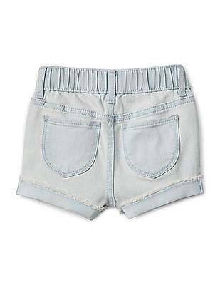 GAP Toddler Girl Blue Shorty Shorts With Heart Applique In Stretch