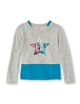 The Children's Place Girls Round Neck Graphic Front Twofer Top