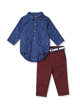 The Children's Place Assorted Baby Long Sleeve Geometric Print Bodysuit And Belted Pants Set