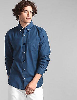 GAP Blue Lived-In Stretch Oxford Shirt