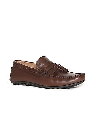 Arrow Brown Tassel Accent Penny Loafers