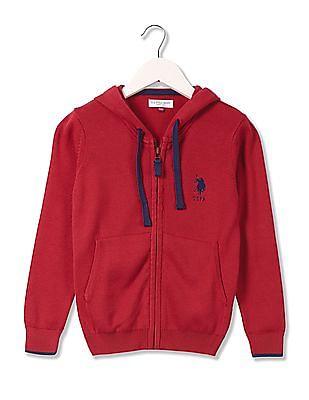 U.S. Polo Assn. Kids Boys Hooded Zip Up Sweater