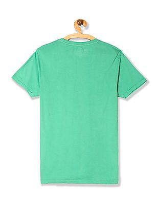 Flying Machine Green Regular Fit Printed Front T-Shirt