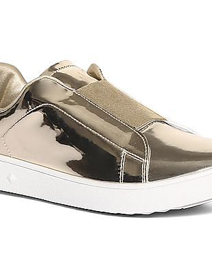 Stride Gold Mid Top Metallic Slip On Shoes