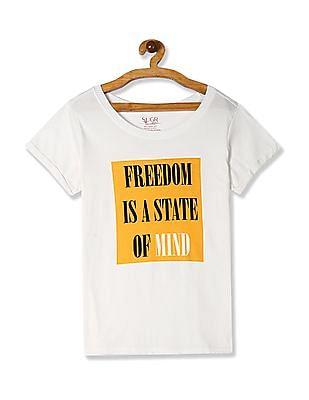 SUGR White Round Neck Graphic Print T-Shirt