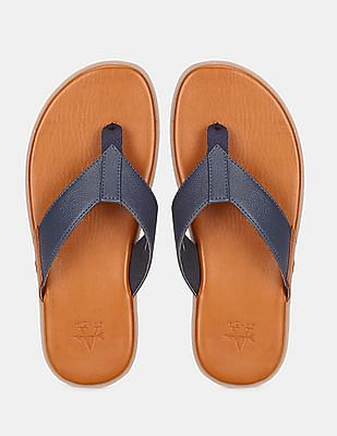 Arrow Men Navy And Brown V-Strap Leather Sandals
