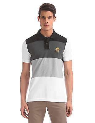 U.S. Polo Assn. Grey And White Panelled Pique Polo Shirt