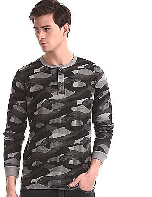 Cherokee Grey Long Sleeve Camo Print Henley T-Shirt