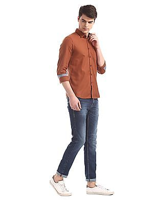Flying Machine Orange Patch Pocket Solid Shirt