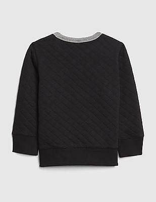 GAP Baby Black Quilted Crewneck Sweatshirt