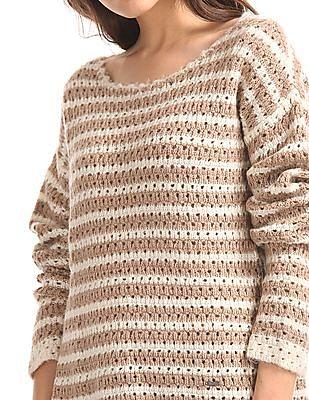 Elle High Low Hem Striped Sweater