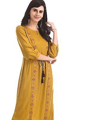 Bronz Yellow Tie Up Waist Embroidered Dress