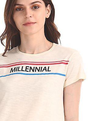 Flying Machine Women Contrast Print Slubbed T-Shirt