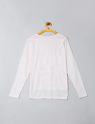 GAP Girls White Long Dolman Sleeve Graphic Tee