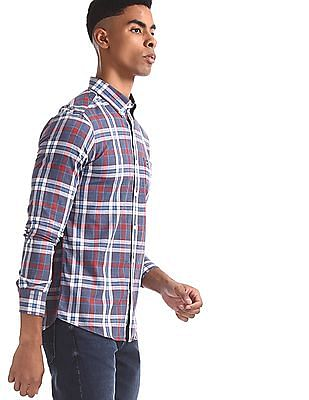Arrow Sports Red And Navy Button Down Collar Check Shirt