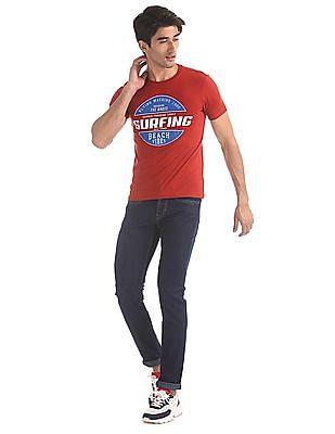 Flying Machine Red Brand Print Cotton T-Shirt