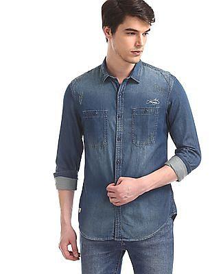 Ed Hardy Blue Washed Denim Shirt