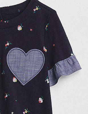 GAP Baby Blue Print Heart Body Double