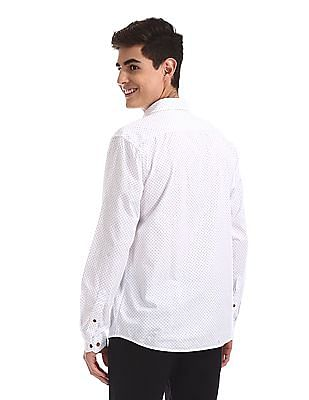 Ruggers White Patch Pocket Printed Shirt