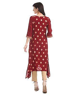 Anahi Red Tie Up Waist Printed Kurta