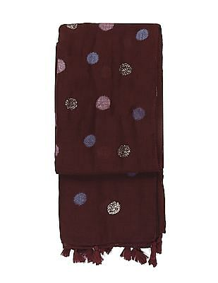 SUGR Red Polka Dot Print Tasselled Stole