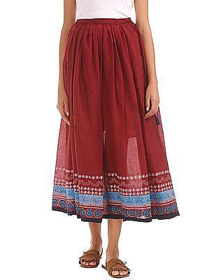 Bronz Drawstring Waist Maxi Skirt