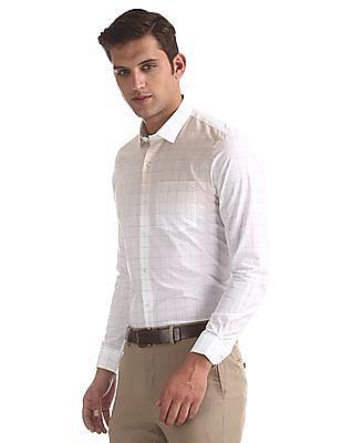 Arrow Newyork White Slim Fit Check Shirt