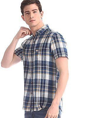 U.S. Polo Assn. Denim Co. Blue Patch Pocket Check Shirt