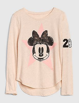 204dbb76 GAP Girls Disney Mickey Mouse And Minnie Mouse Flippy Sequin T-Shirt