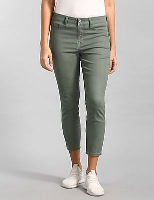 GAP Women Green Mid Rise Solid Jeggings