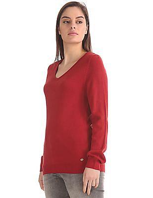 U.S. Polo Assn. Women V-Neck Solid Sweater