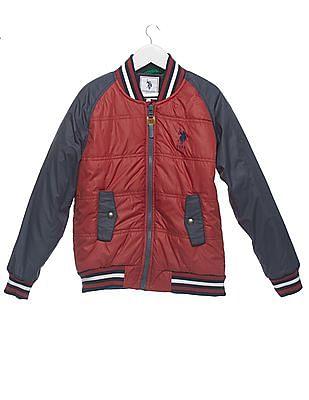 U.S. Polo Assn. Kids Boys Colour Block Bomber Jacket