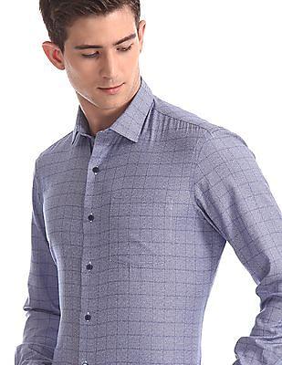 Arrow Newyork Blue Mitered Cuff Tonal Check Shirt