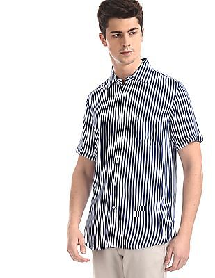 U.S. Polo Assn. Dark Blue And White Patch Pocket Vertical Stripe Shirt