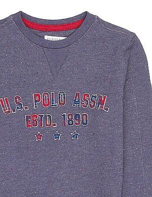 U.S. Polo Assn. Kids Boys Crew Neck Brand Appliqued Sweatshirt