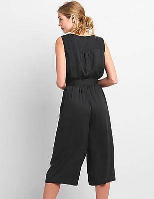 GAP Women Black Sleeveless Wrap Jumpsuit In Modal