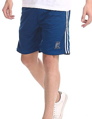 Aeropostale Blue Drawstring Waist Perforated Shorts