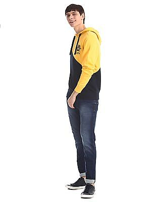 U.S. Polo Assn. Yellow And Navy Hooded Colour Block Sweatshirt