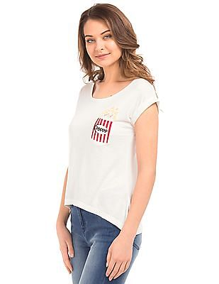 Flying Machine Women Printed Pocket Regular Fit Top