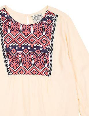 Cherokee Girls Printed Yoke Crinkled Top