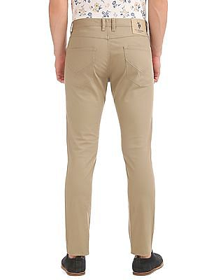 U.S. Polo Assn. Denim Co. Slim Tapered Fit Solid Trousers