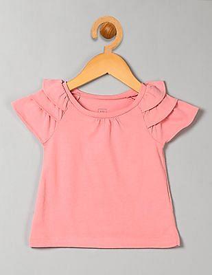 GAP Baby Pink Ruffle Sleeve Top