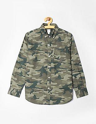 GAP Boys Poplin Print Long Sleeve Shirt