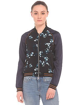 Aeropostale Floral Print Raglan Sleeve Bomber Jacket