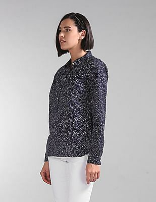 GAP Women Blue Floral Print Popover Shirt