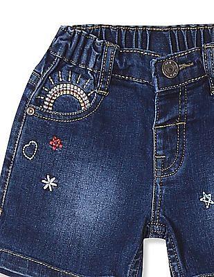 Donuts Girls Embroidered Denim Shorts