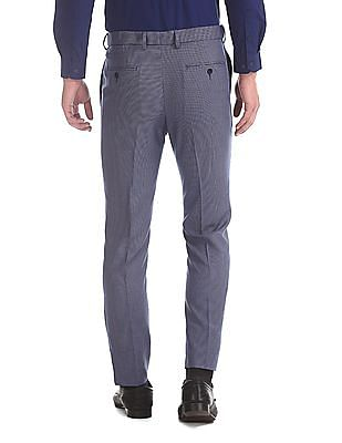Arrow Blue Tapered Fit Patterned Trousers