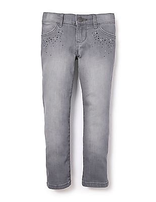 The Children's Place Girls Grey Studded Skinny Jeans