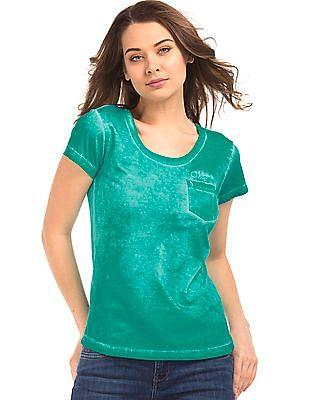 Flying Machine Women Washed Cotton T-Shirt
